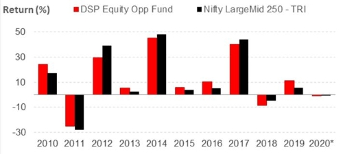 Graph 2:DSP Equity Opportunities Fund's year-on-year performance
