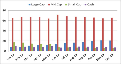 Graph 3: Portfolio allocation and market capitalisation trend in DSP Midcap Fund