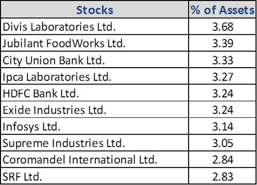 Graph 4:Top portfolio holdings in DSP Midcap Fund