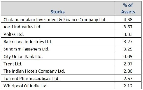 Graph 4:Top portfolio holdings in HDFC Mid-cap Opportunities Fund