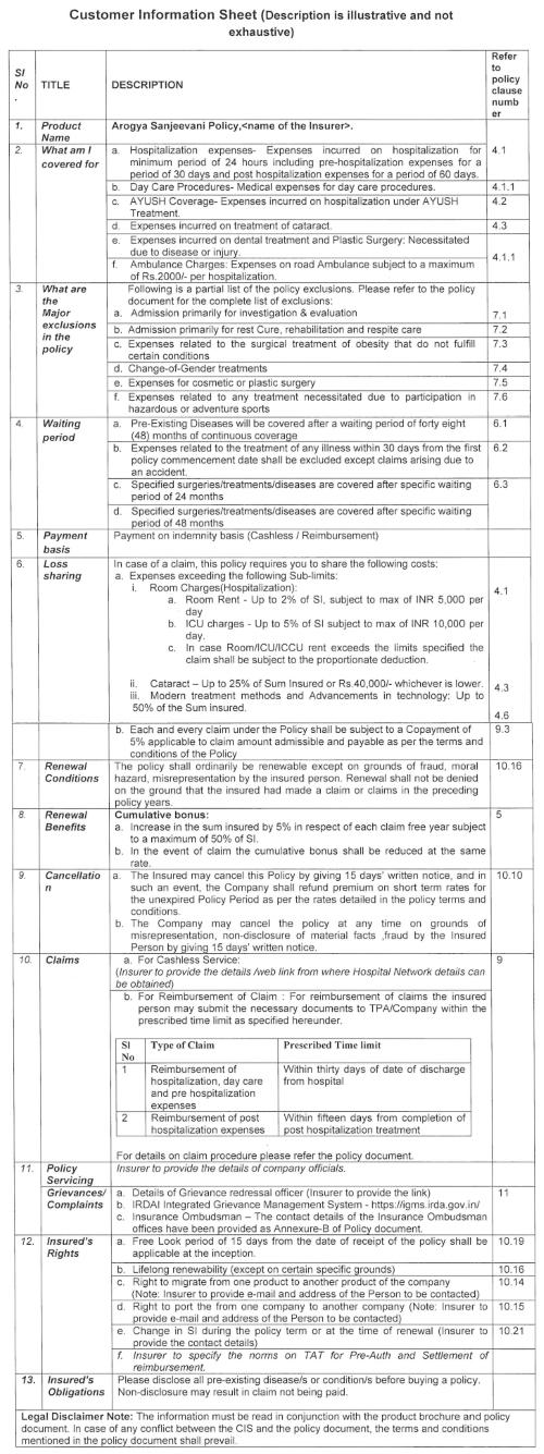Image 1: Snapshot of Customer information sheet